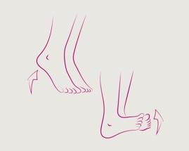 Obrázek kolíbky na chodidlech zachycuje cvik 1 žilní gymnastiky