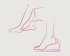 Obrázek sunutí nohy zachycuje cvik 2 žilní gymnastiky
