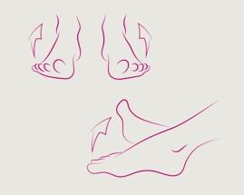 Obrázek vytáčení chodidel zachycuje cvik 3 žilní gymnastiky