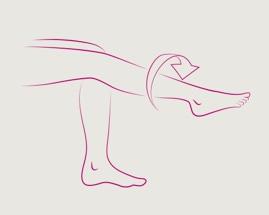 Obrázek otáčení nohou zachycuje cvik 4 žilní gymnastiky