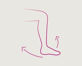 Ikona pohybující se nohy provádějící cvičení jako prevenci trombózy